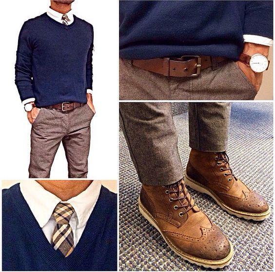 kahverengi-pantolon-uzerine-beyaz-gomlek-mavi-kazak-erkek